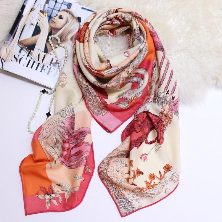 Animal Scarf Winter Pure Cashmere Scarves Women Thick Warm Soft Herringbone Luxury Brand Design Large Shawls Wrap 140*140cm