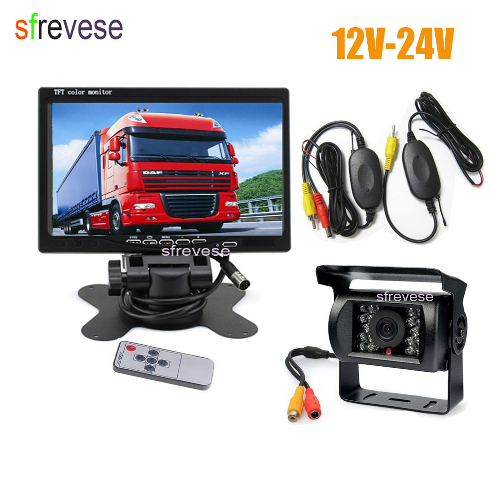 7 LCD Monitor Car Rear View Kit + Waterproof 18 IR LED Wireless Reversing Backup Camera for Bus Truck 12V-24V rear view camera free shipping 4 3 lcd monitor car rear view kit 1ch auto parking system for truck bus school bus dc 12v input rear view camera