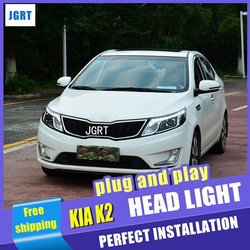 Стайлинга автомобилей для Kia К2 светодиодные фары Стиль Корея Рио фары сборки объектива двойным Луч H7 с HID комплект 2 шт.