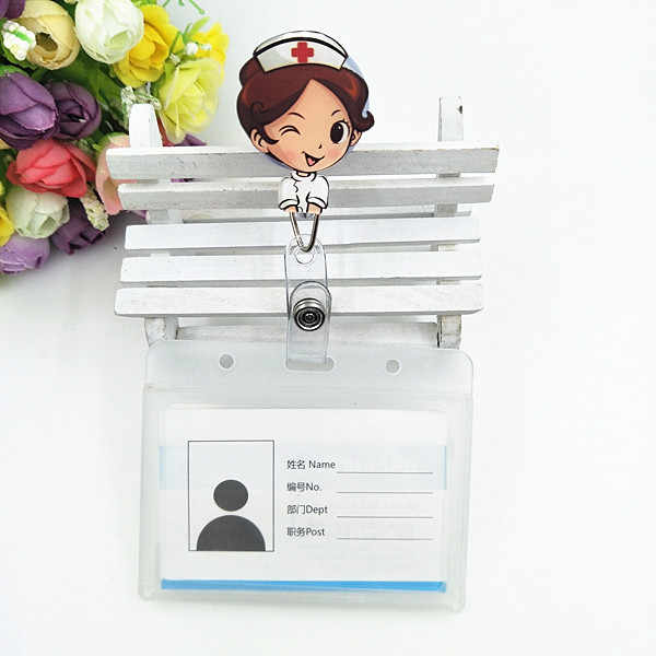 1pcs Cute Waterproof Retractable Badge Reel Student Nurse Exhibition ID Name Card Badge Holder Office Supplies
