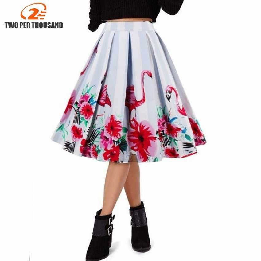49a7900119 Design Floral Flamingo Print Vintage Women Swing Skirts Summer Cotton High  Waist A-line 1950s