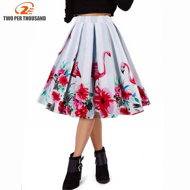 Design Floral Flamingo Print Vintage Women Swing Skirts Summer Cotton High  Waist A-line 1950s Pleated Midi Skirt Retro Faldas 85f8acac8687