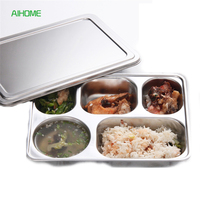 4 5 Sections Stainless Steel Divided Dinnerware Plate Rectangular Dish Students Lunch Box Tray Tableware Supplies
