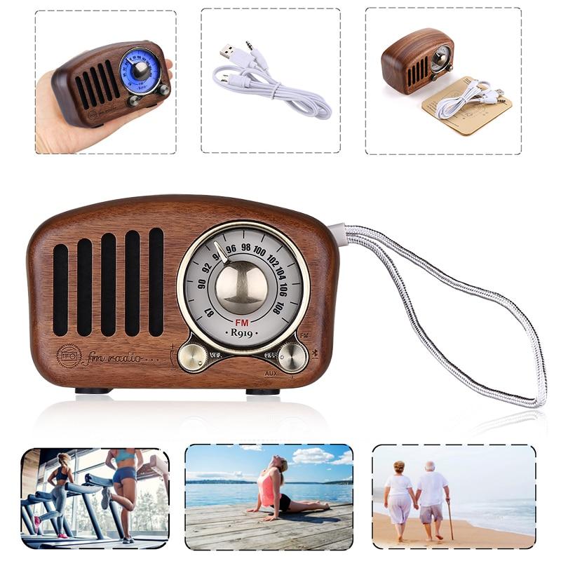 Digital Retro Radio FM USB/TF/AUX/MP3 Rechargeable Speaker AUX External  Audio Function BT-4 2 Wireless Speaker
