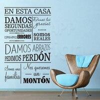 Художественный новый дизайн домашний Декор виниловые испанские домашние правила слова настенные наклейки съемные украшения комнаты семей...