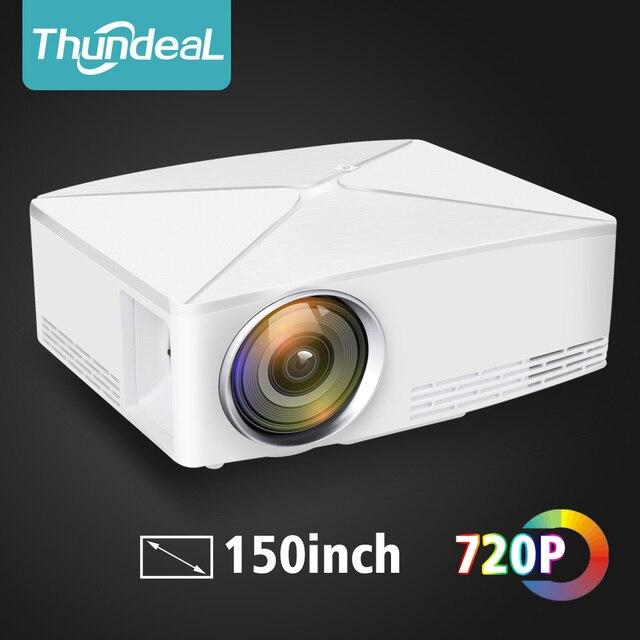 Thundal جهاز عرض صغير C80 UP 1280x720 القرار أندرويد واي فاي Proyector LED ثلاثية الأبعاد المحمولة HD متعاطي المخدرات السينما المنزلية اختياري C80up