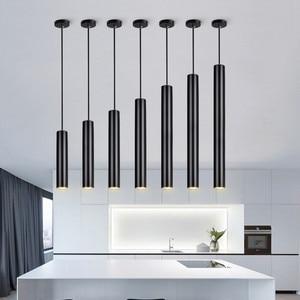 Image 5 - [DBF]LED moderne suspension longue tube noir suspension lampe île barre pays boutique chambre cuisine luminaires lampe à suspension luminaire