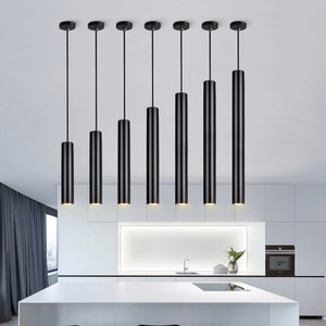 Image 5 - [DBF]LED الحديثة قلادة ضوء أنبوب طويل ثرية سوداء مصباح جزيرة بار كونتي متجر غرفة ضوء مطبخ تركيبات hanglamp الإنارة
