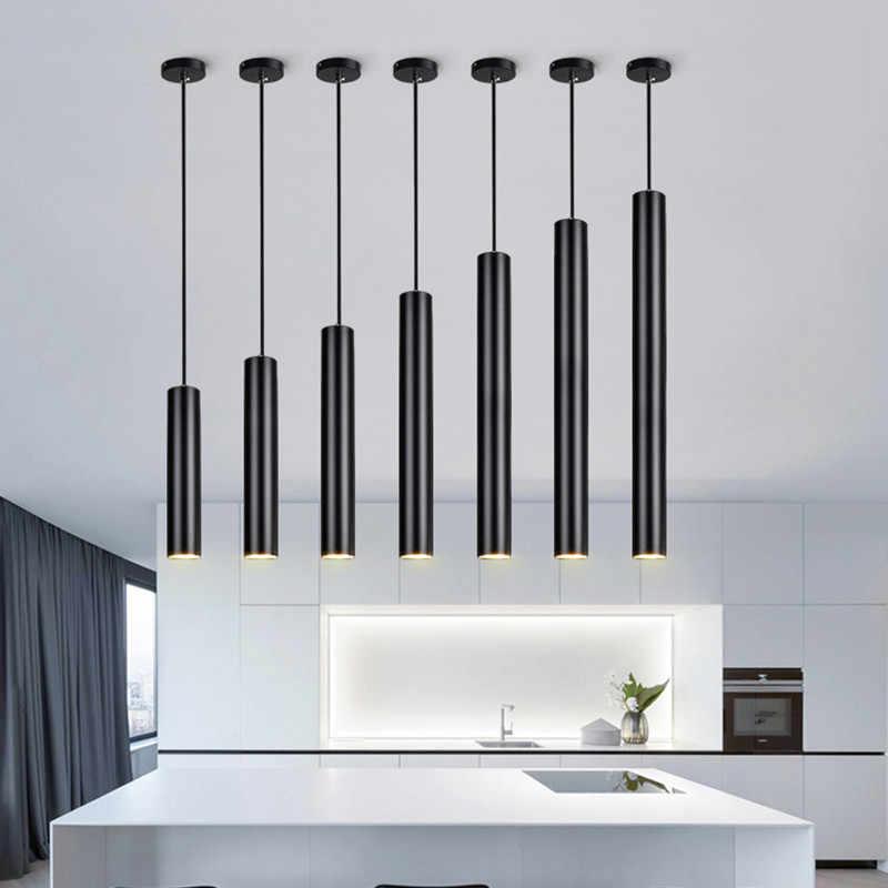 [DBF] светодиодный подвесной светильник в современном стиле с длинной трубкой, черный подвесной светильник, подвесной светильник для магазина, кухни, подвесного светильника