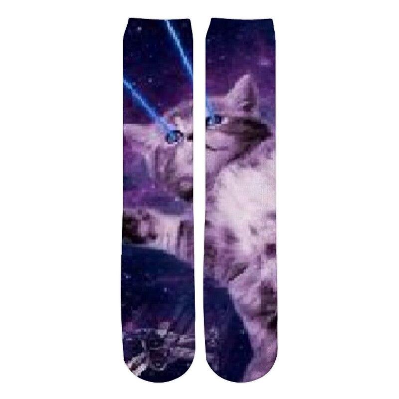 PLstar Cosmos 2019 New Fashion Mens 3d Socks Cute animals Cat eats pizza Printed Men/Women Casual Straight socks 2
