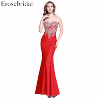 Evening dress erosebridal mermaid 2017 red robe de soiree chiffon prom party gown appliques bodice new.jpg 200x200
