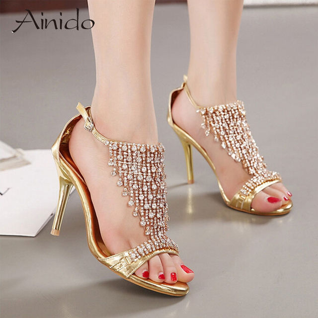 c8f1b2e4903ce New Design Ladies Sexy Stilettos High Heels Women Shoes Pumps Faux  Rhinestone Wedding Party Sandals Silver Gold