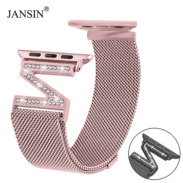 JANSIN Milanese Loop Diamond ремешок для Apple Watch полосы 42 мм 38 серии 3 2 1 браслет из звеньев iWatch серии 4 40 44
