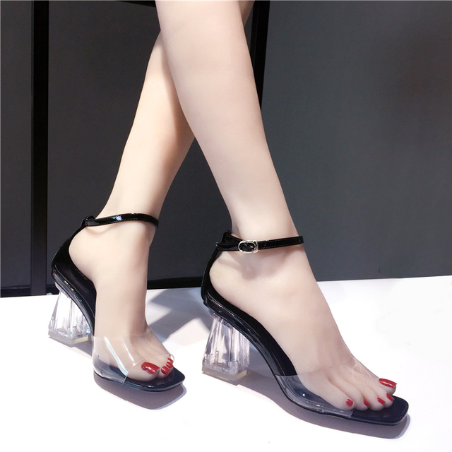 293134e0bb7 2018 Women Sandals Crystal High Heels Summer Sexy Clear Transparent Ankle  Strap Square Heel Women Shoes Open Toe party Sandalias-in High Heels from  ...