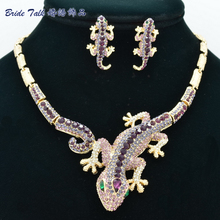 Fashion Animal Purple Rhinestone Crystal Gecko Lizard Necklace Earring Set Women jewelry wholesale FA3274