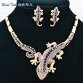 Moda Animal Roxo Rhinestone Cristal FA3274 Gecko Lizard Colar Brinco Definir As Mulheres de jóias por atacado