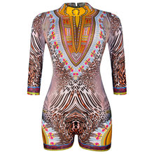 African Dresses Limited 2017 New National Costume Turtleneck Flat Foot Jumpsuit Sexy Halter Swimsuit Size Mesh Stitching Sleeve(China)