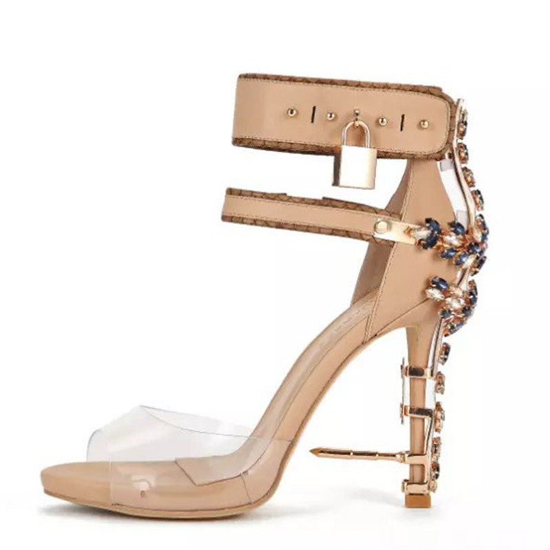 Hot sale clear PVC ankle strap sandals bling crystal high heeled sandal boots fashion padlock pumps