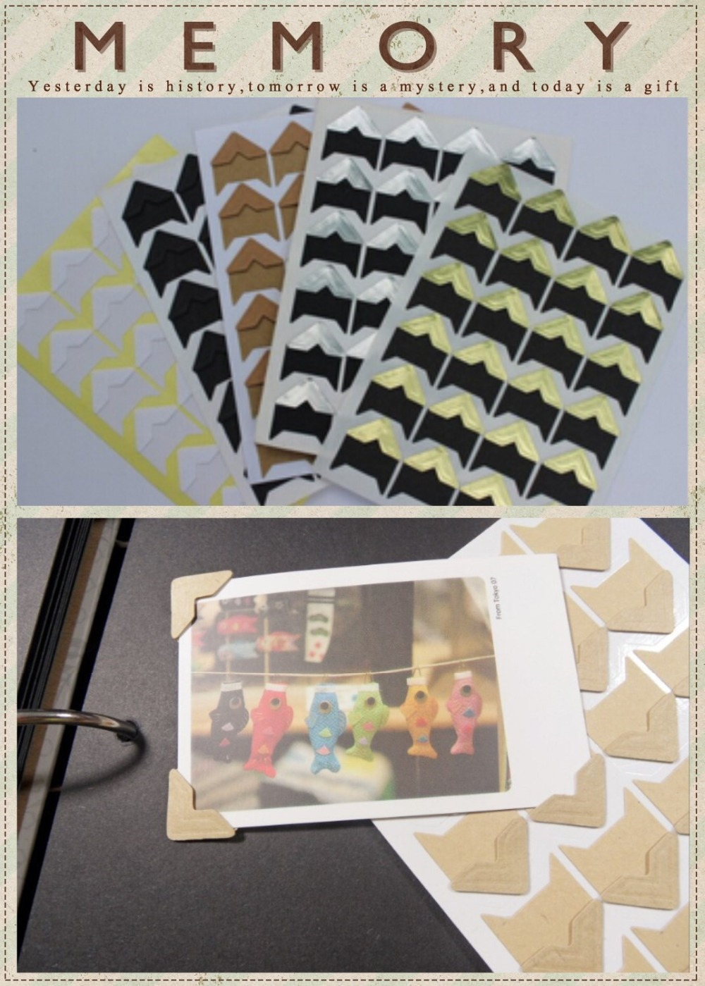 6 Sheets Mixed Colors Photo Album Sticker Self Adhesive Corners Stickers