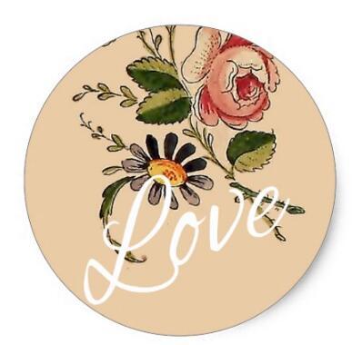 1 5 Inch Cinta Script Vintage Liar Bunga Ilustrasi Klasik Putaran