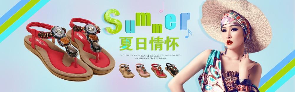 2016  New arrival women sandals fashion flip flops flat shoes causal Bohemia women shoes plus size wholesale  (1)