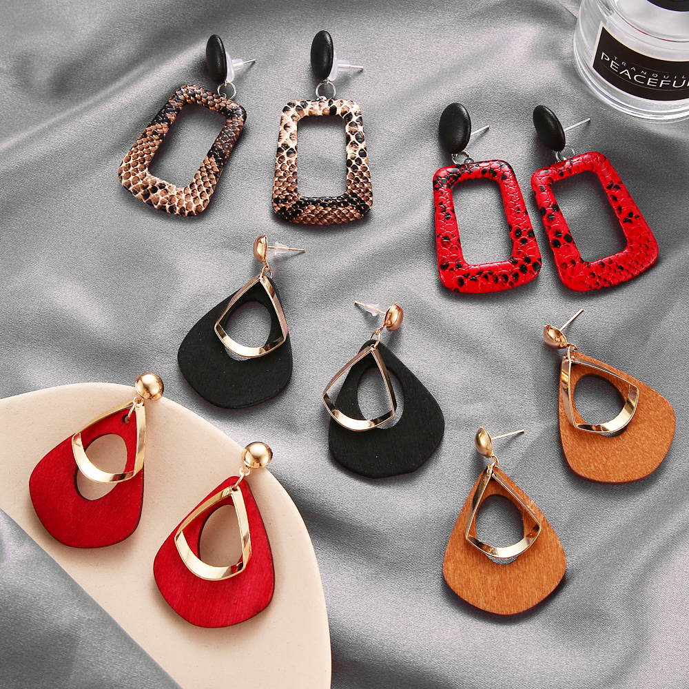 HTB1vQxsUmzqK1RjSZFLq6An2XXa5 - Trendy Party Jewelry Vintage 2019 Women's Fashion Statement Earring Red  Brown Black Color Long Wooden Brincos Wedding Gift