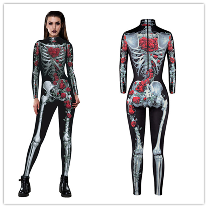3D printed  Skull Skeleton Jumpsuit Catsuit Sexy Cosplay Costumes Halloween Purim Carnival Women Bodysuit Fancy Dress