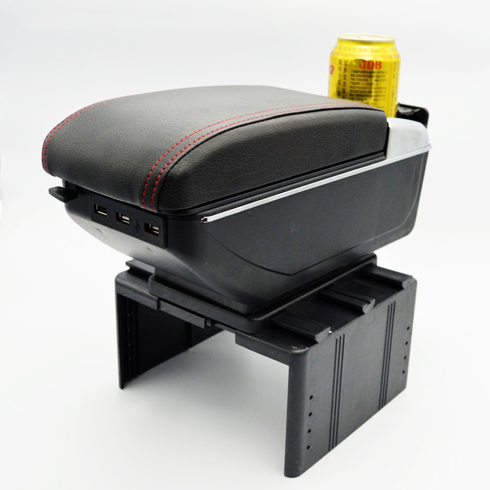 Universal Leather Car Armrest Central Store Content Storage Box with Cup Holder Center Console Armrests Free