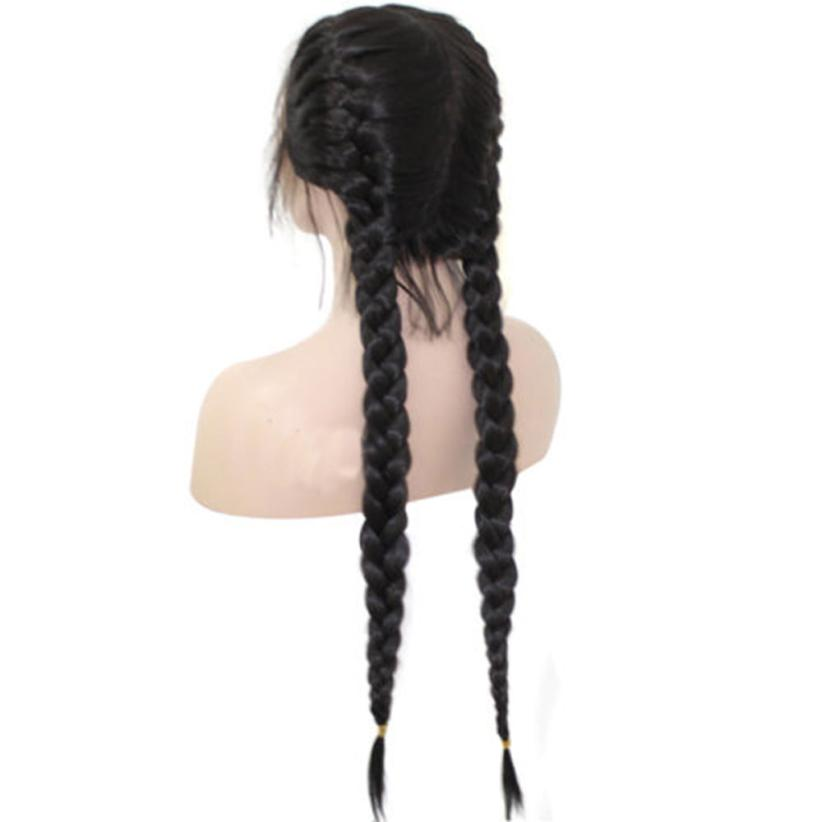 Wig Natural Hair Fashion Curly Wig Synthetic Baby Hair Braided Double Lace Front Wig Long Black Ombre Black Wigs Women A17 free shipping 2016 summer diamond woman sandals casual flat thong flip flops fashion beads wild sandals white black st338