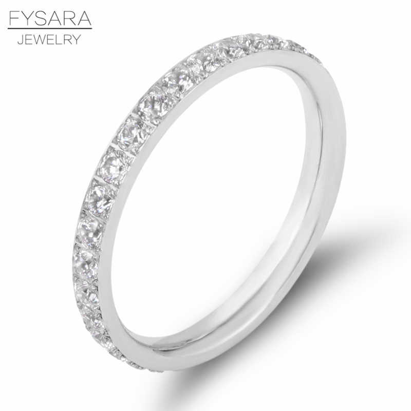 FYSARA Inlay Single Row AAA Cubic Zirconia Crystals Ring For Women Luxury Charm Silver Love Ring Engagement Jewelry DropShipping