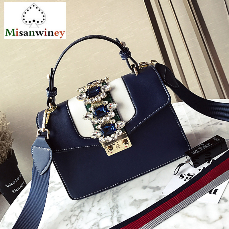 5Color Luxury Brand Diamond Gem Design Women Leather Handbag Colorful Strap Shoulder Bag Famous Designer Handbag Lady Tote Purse luxury designer brand baroque royal handbag runway lady bag purse with handle