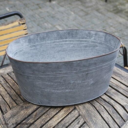 Large Zinc Metal Antique Style Oval Garden Planter Trough