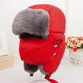 Women's fur hat for winter fur tapper hat with fur pom pom ear protect bomber hats Russian Ushanka outdoor caps W2