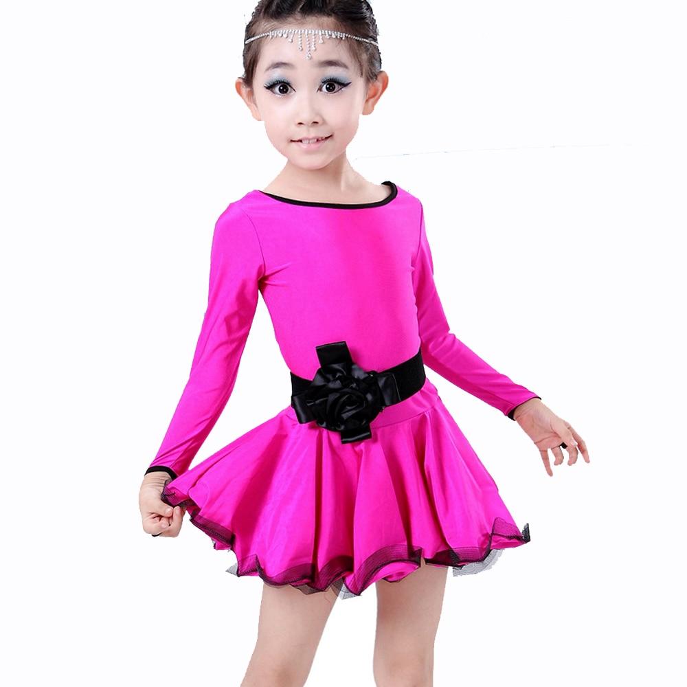 ᐊ2018 niños Latino danza Vestidos rosa/azul/negro manga larga Niñas ...