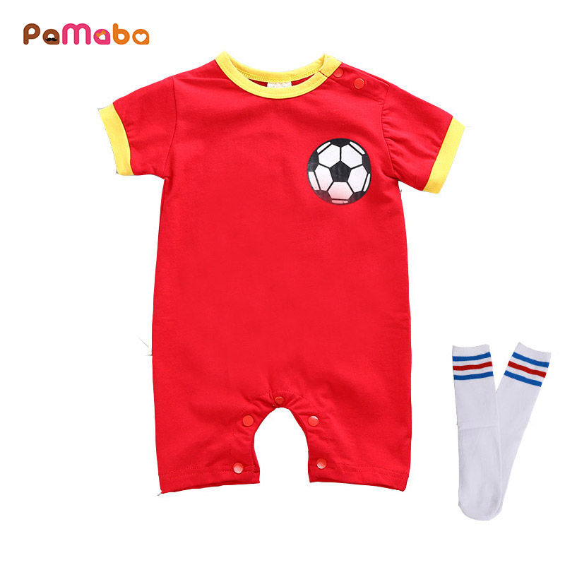 PaMaBa Football Jersey Design Baby Boys Romper with Free Stockings Newborn Kids Jumpsuit Cotton Infant Boy Clothes Sport Costume baby boy clothes kids bodysuit infant coverall newborn romper short sleeve polo shirt cotton children costume outfit suit