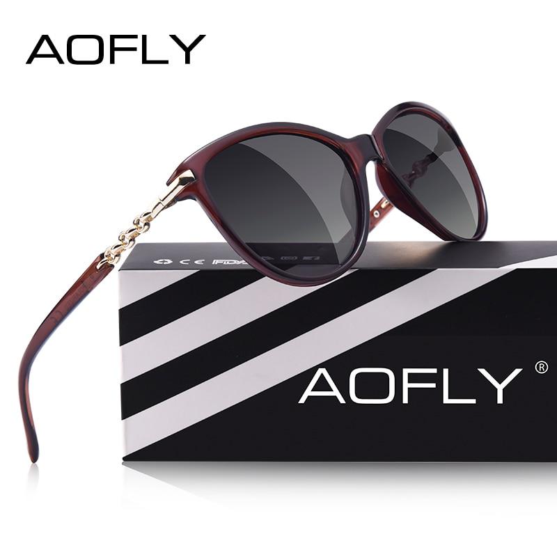 AOFLY diseño de la marca de ojo de gato gafas de sol polarizadas las mujeres gafas de sol polarizadas mujer gradiente tonos Oculos Feminino UV400