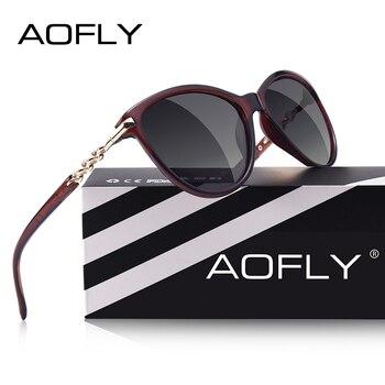 5dfd8b38e0 AOFLY diseño de la marca de ojo de gato gafas de sol polarizadas las mujeres  gafas de sol polarizadas mujer gradiente tonos Oculos Feminino UV400