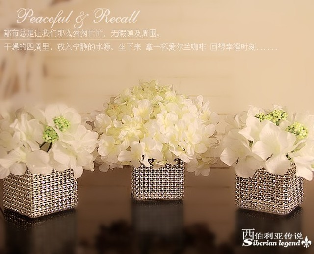 Wedding Centerpieces Silver Candle Stick Crystal Holder Rack Without Flower 6 Pcs In