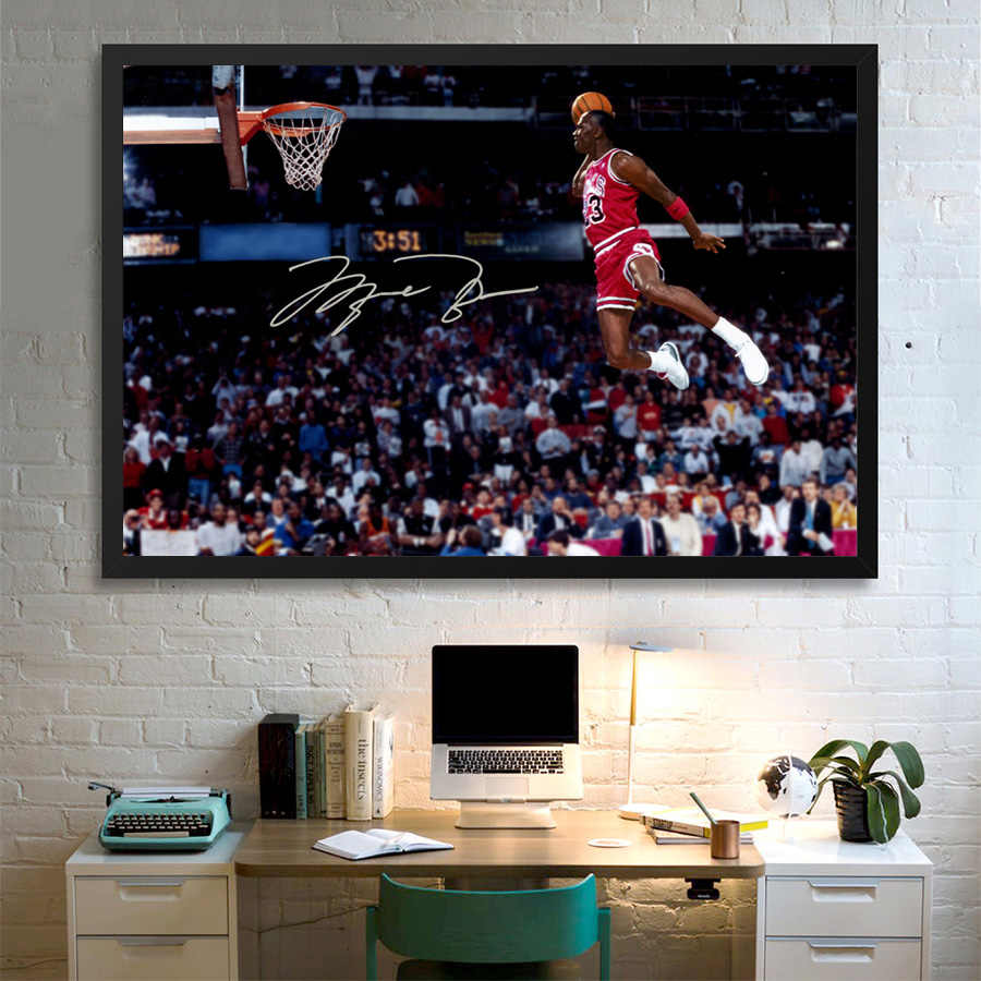 Basketbal Poster Michael Jordan Flying Dunk Foto Schilderij Canvas Print Wall Art Voor Home Room Decor