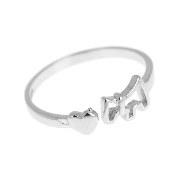 Trendy Silver Plated Heart Rings for Women Lady Silver Rings Jewelry Heart Dog Design Knuckle Finger Open Adjustable Rings