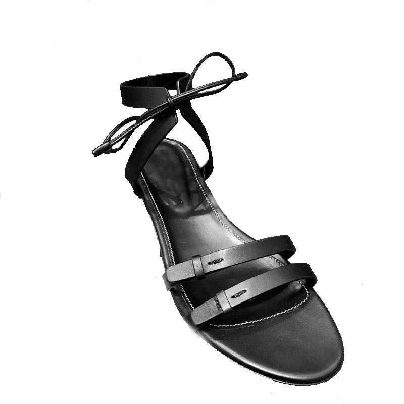 2019 גלדיאטור סנדלי נשים דירות צלב-קשור קיץ נעלי אישה שחור מגזרות Chaussures Femme תחרה עד Sandalias mujer 2019
