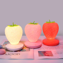 LED Touch Dimmable Led Night Light Lamp Silicone Strawberry for Baby Children Kids Gift Bedside Bedroom Living Room Decoration h28cm rgb led rabbit lamp night light usb for children baby kids gift animal cartoon bedside bedroom living room decoration