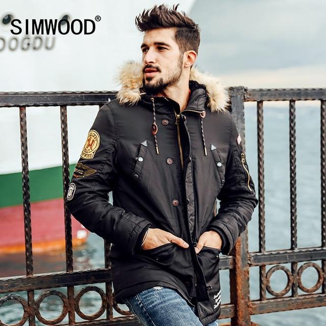 SIMWOOD Brand 2016 new winter  coats men badge pattern parkas  fashion streetwear warm clothing  MF9503