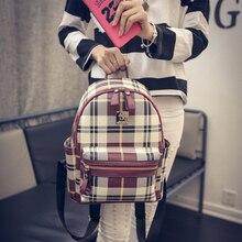 Осень зима плед печати женщины мода рюкзак старинные случайный опрятный стиль все матч школьная сумка новая коллекция книга мешок