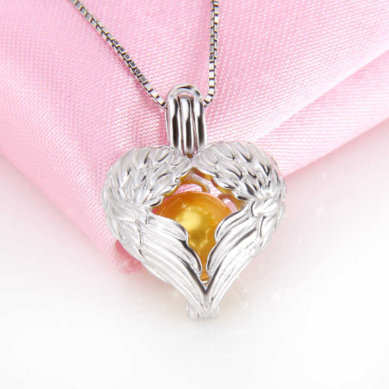 CLUCI Real 925 Sterling Silver Angel Wings Charms Pendant Gift Jewelry Women Love Heart Silver 925 Pearl Locket