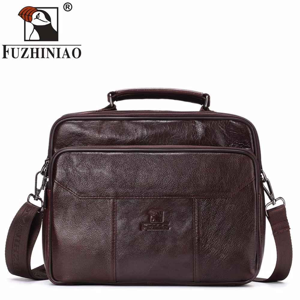 FUZHINIAO 2018 New Fashion Genuine Leather Men Messenger Bag Famous Brand Shoulder Bag Office Bags Causal Handbag Male Design feger 2018 new fashion genuine leather men bag famous brand shoulder bag messenger bags causal handbag laptop briefcase male