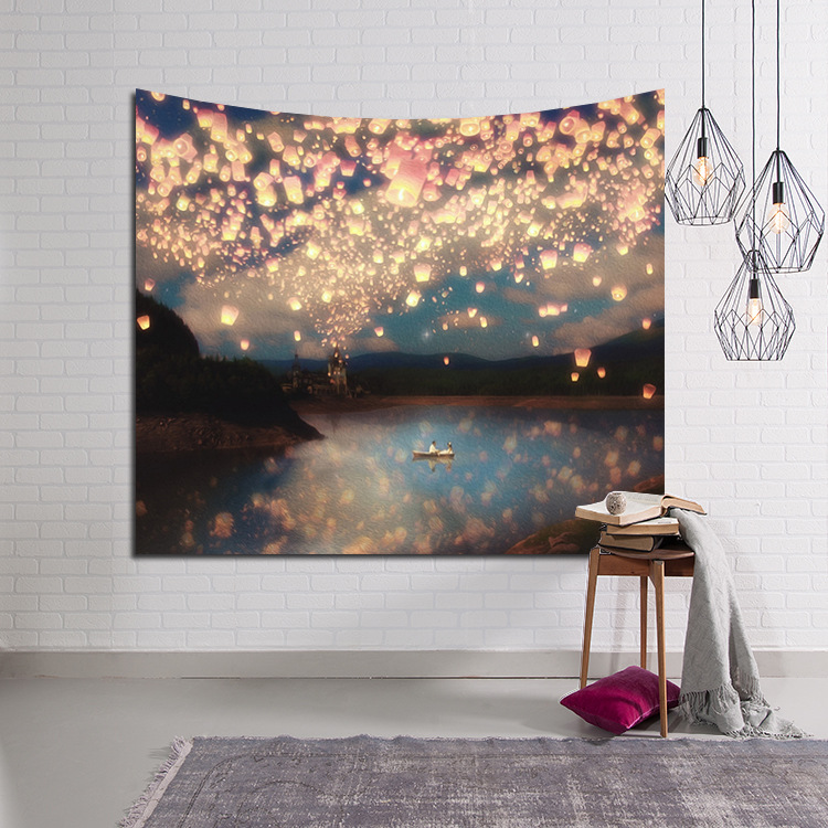 LYN & GY Schöne Kerze Nachthimmel Wandteppich Hauptdekorationen Wandbehang Wald Starry Teppiche Für Wohnzimmer Schlafzimmer