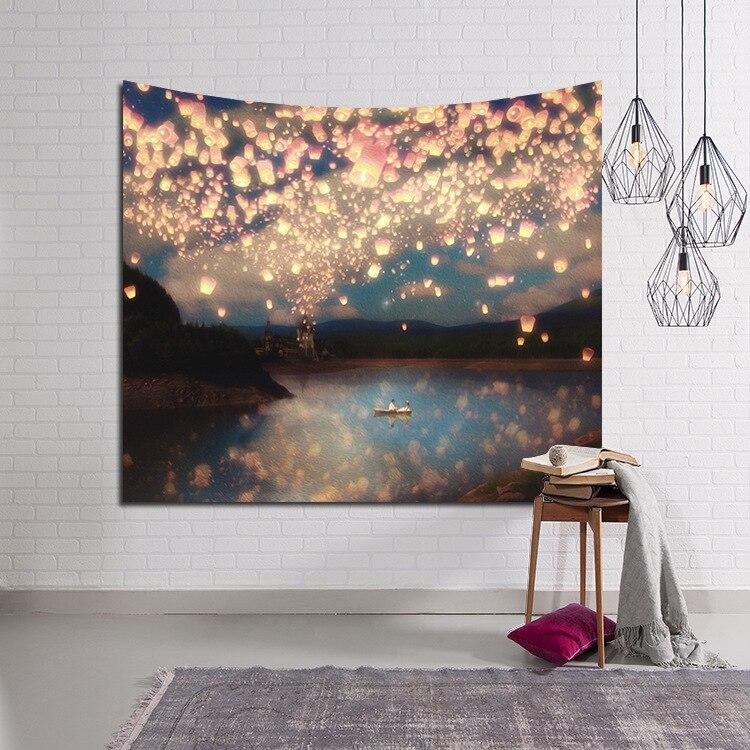 Lin & GY hermosa vela cielo nocturno tapiz de pared decoración del hogar colgante de pared bosque estrellado tapices para sala de estar dormitorio