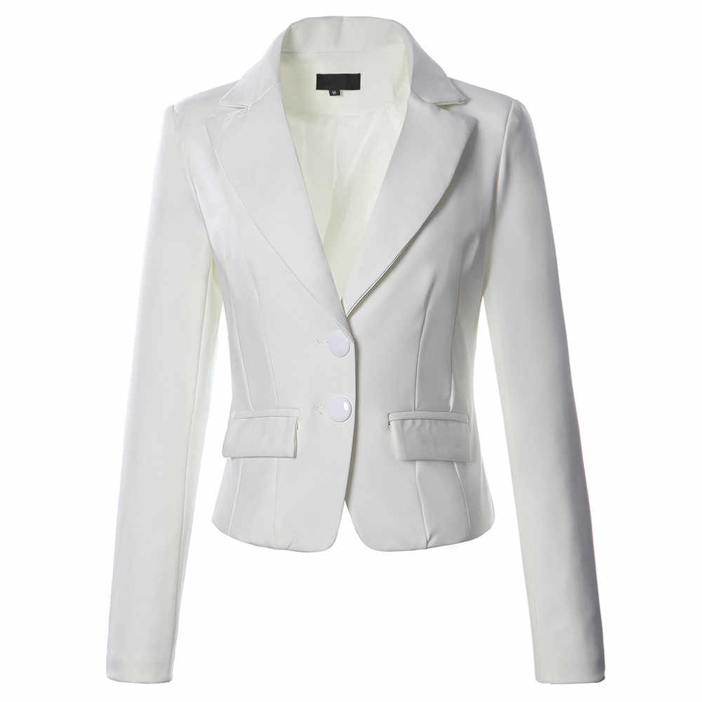 JAYCOSIN 女性のジャケットブレザー女性無地 2 ボタンポケットスリムフィットスーツコートオフィスジャケットカジュアルトップスブレザー
