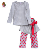 2016 Casual Style Kids Clothing Girls Set Gey Top Polka Dots leggings Breathable Cotton Belt Skirts Spring Daily Costume F054